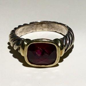 David Yurman Sterling 18k garnet Ring